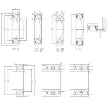 110 mm x 170 mm x 28 mm  SKF S7022 ACD/HCP4A angular contact ball bearings