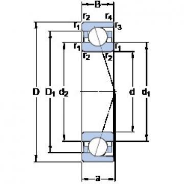 105 mm x 190 mm x 36 mm  SKF 7221 ACD/P4A angular contact ball bearings